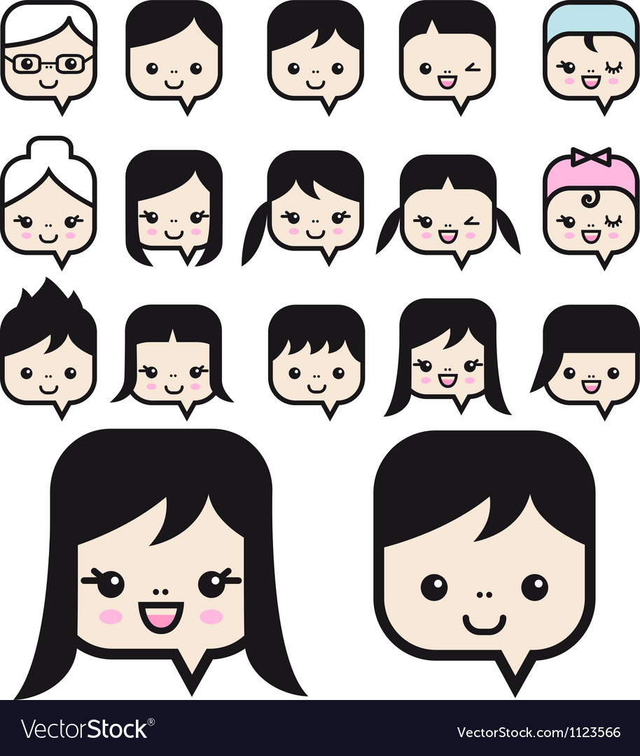 People faces icon set