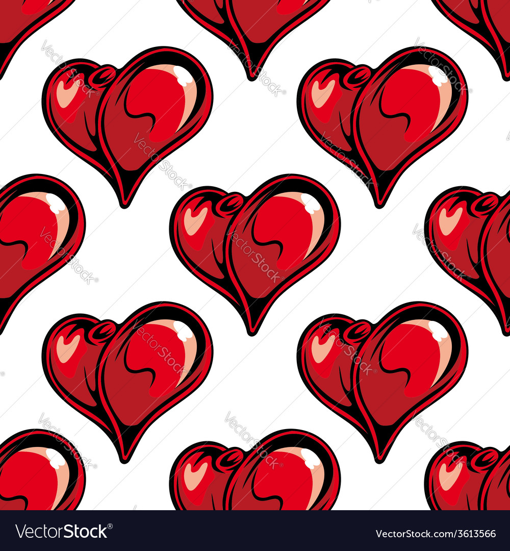Retro red hearts seamless pattern