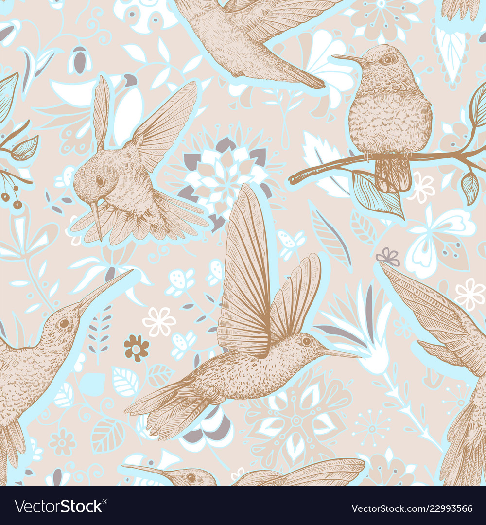 Sketch pattern with hummingbirds and
