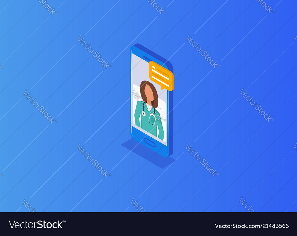 Tele online remote medicine flat concept
