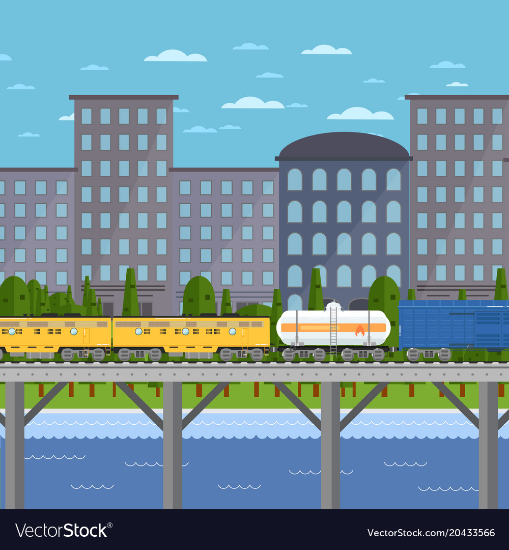 Train moving on bridge background of cityscape