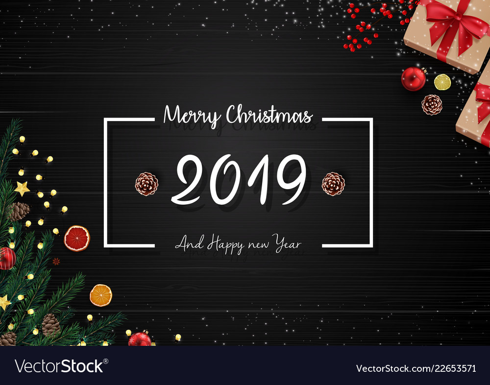 2019 happy new year and christmas background
