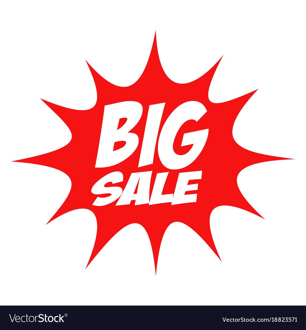Big sale in comic splash icon vector image