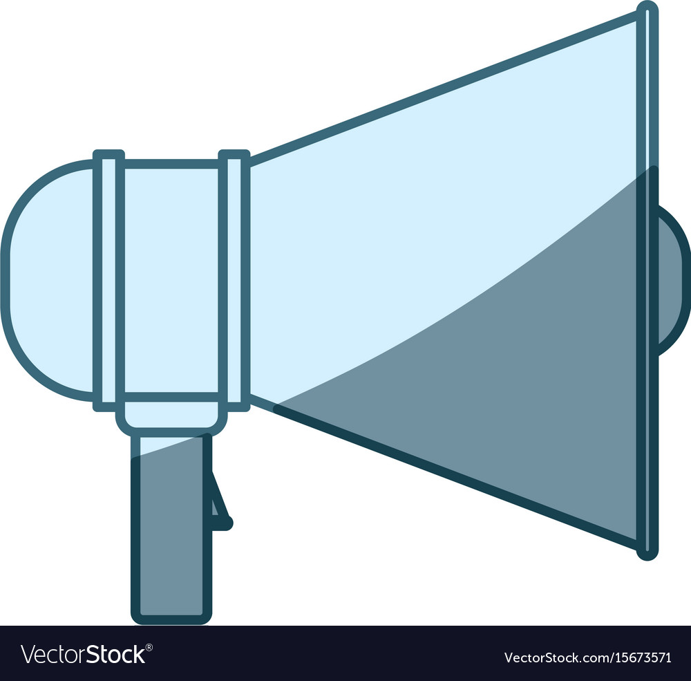 Blue shading silhouette of megaphone icon