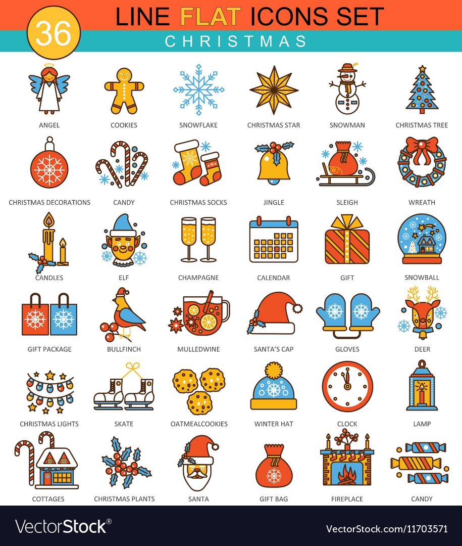 Christmas and happy new year flat line icon