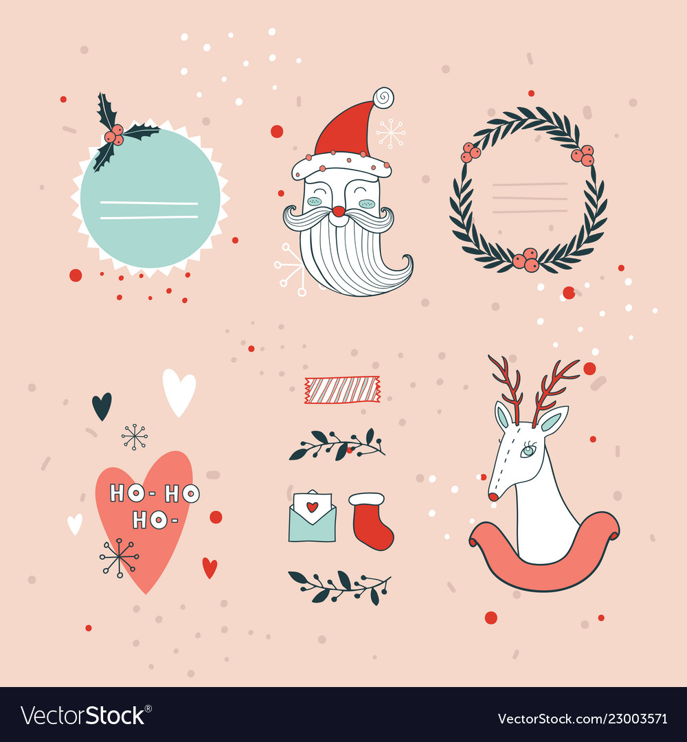 Christmas and new year hand drawn design elements