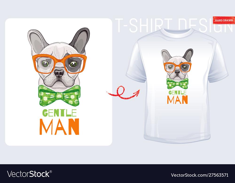 Cute bulldog dog t-shirt print design cool puppy