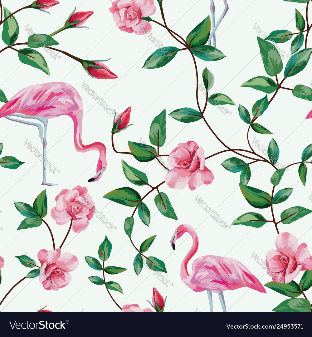 Flamingo and branch roses seamless white
