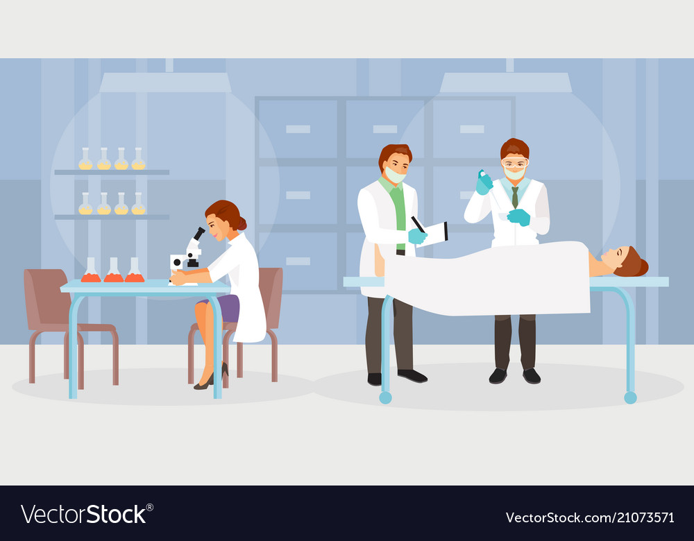 Forensic Medical Experts Royalty Free Vector Image