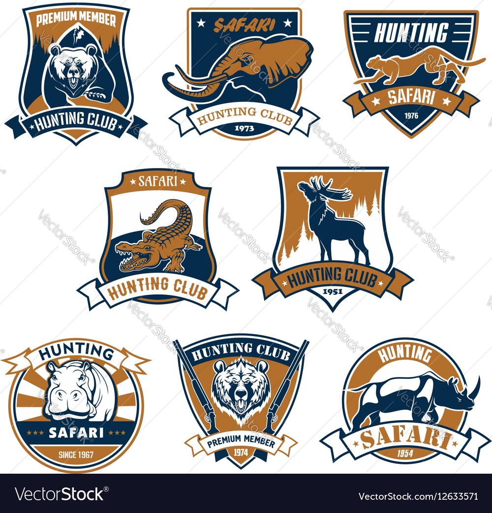 Hunting sport club icons emblems set