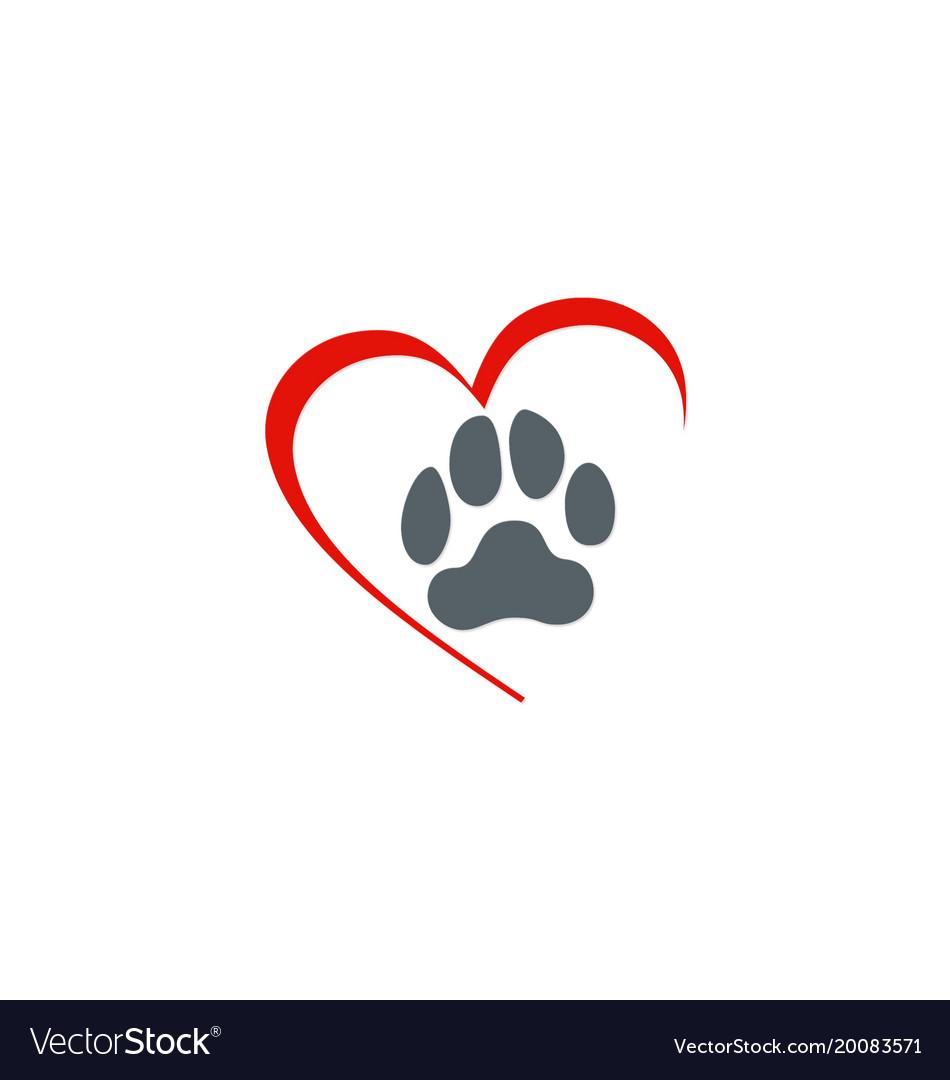 Love dog foot step logo