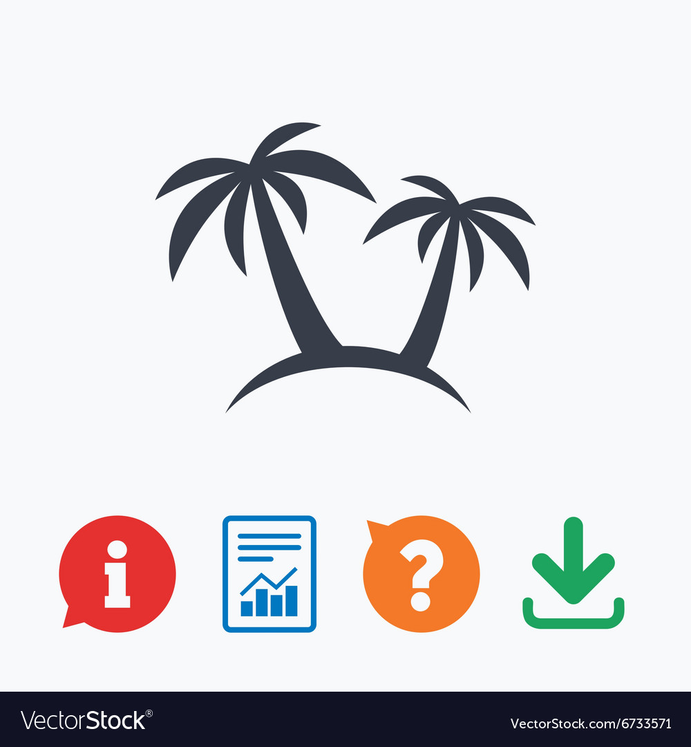 Palm Tree sign icon Travel trip symbol vector image