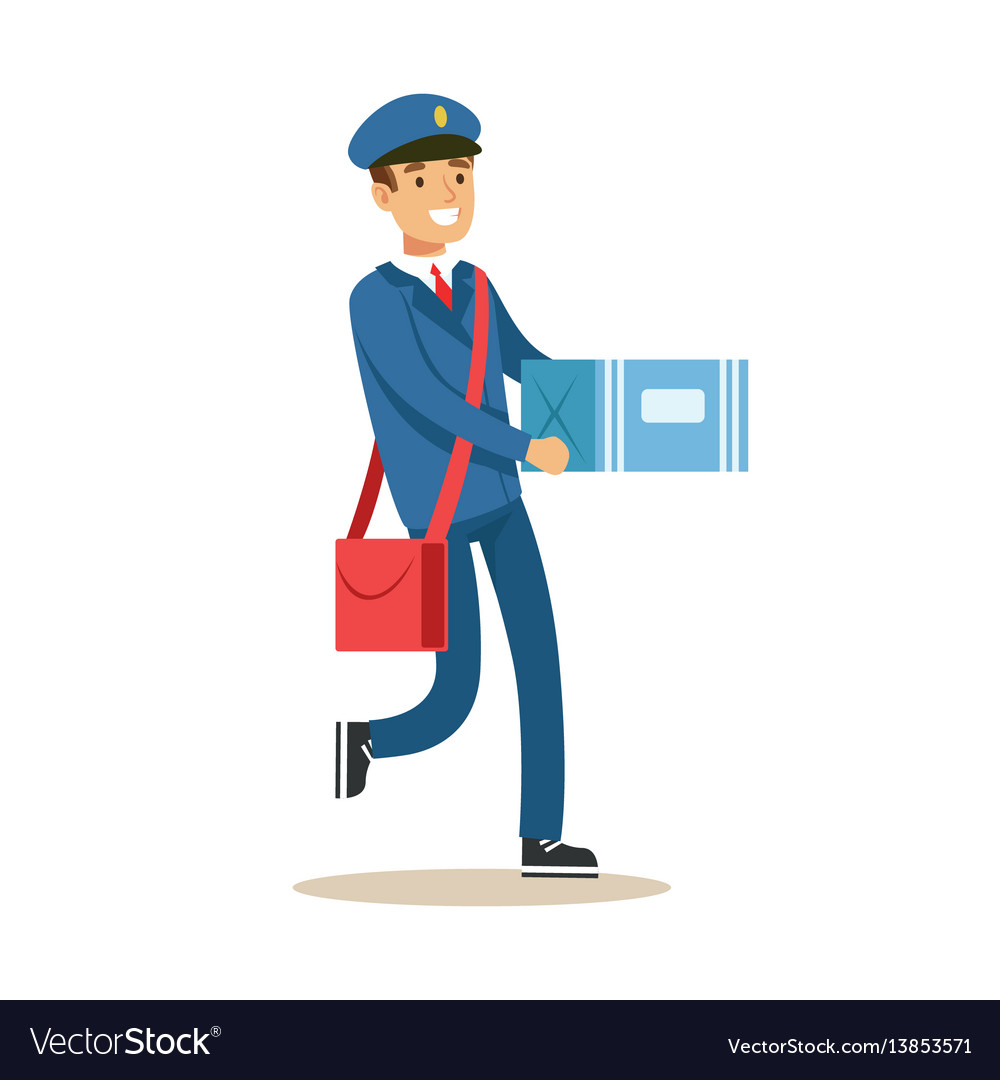 Postman in blue uniform delivering mail carrying vector image