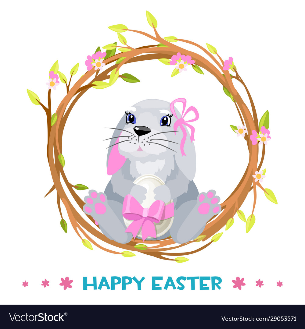 Rabbit in a wreath for happy easter with egg