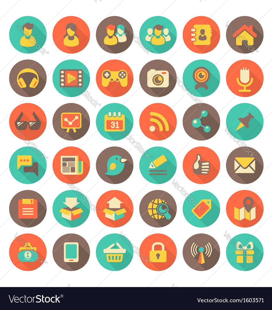 Social Networking Flat Round Icons with Long Shado