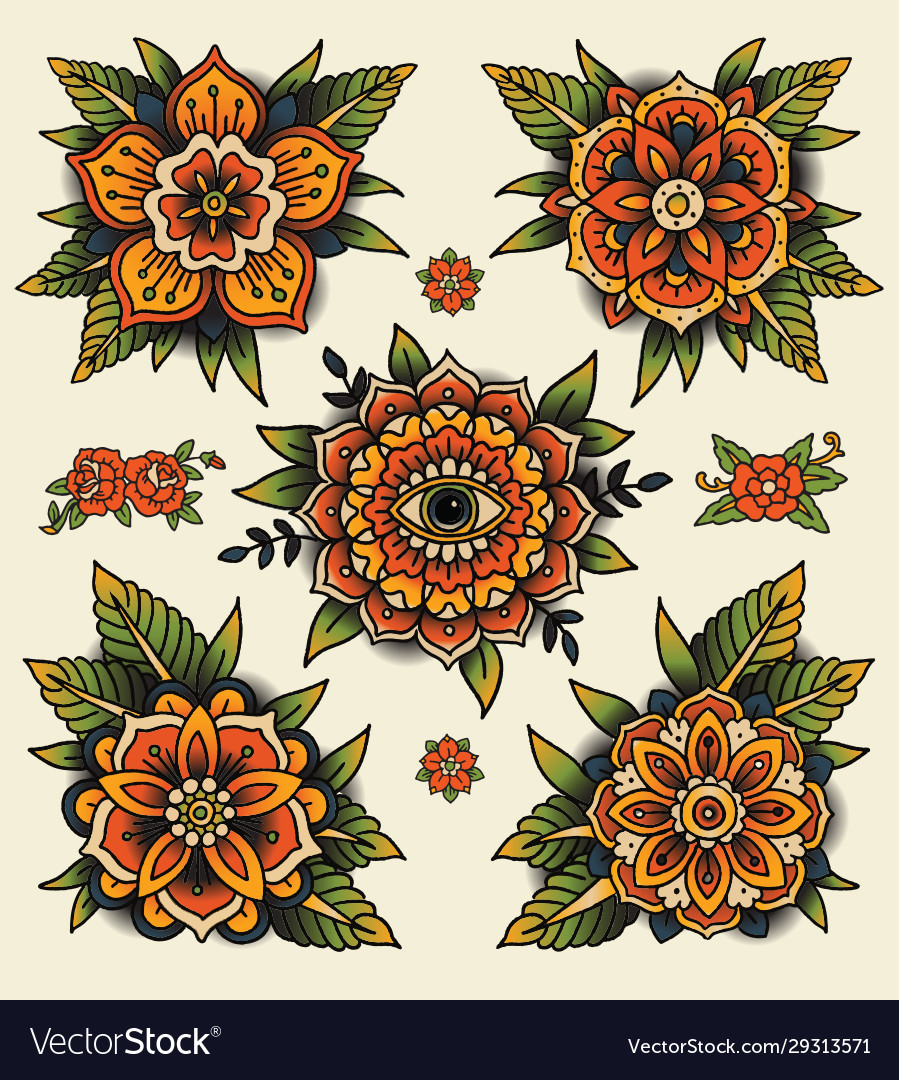 Traditional decorative tattoo flowers