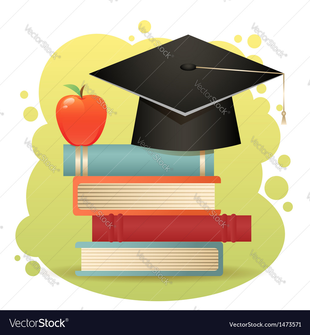 Traditional graduation hat books isolated
