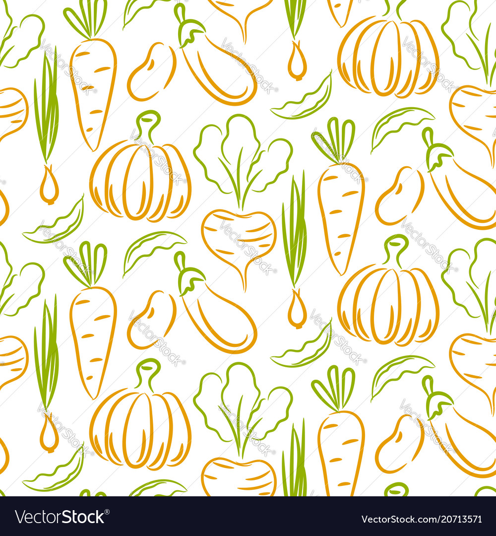 Vegetable sketch style seamless pattern