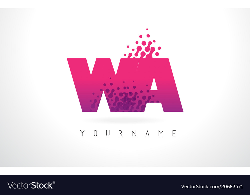 Wa w a letter logo with pink purple color and