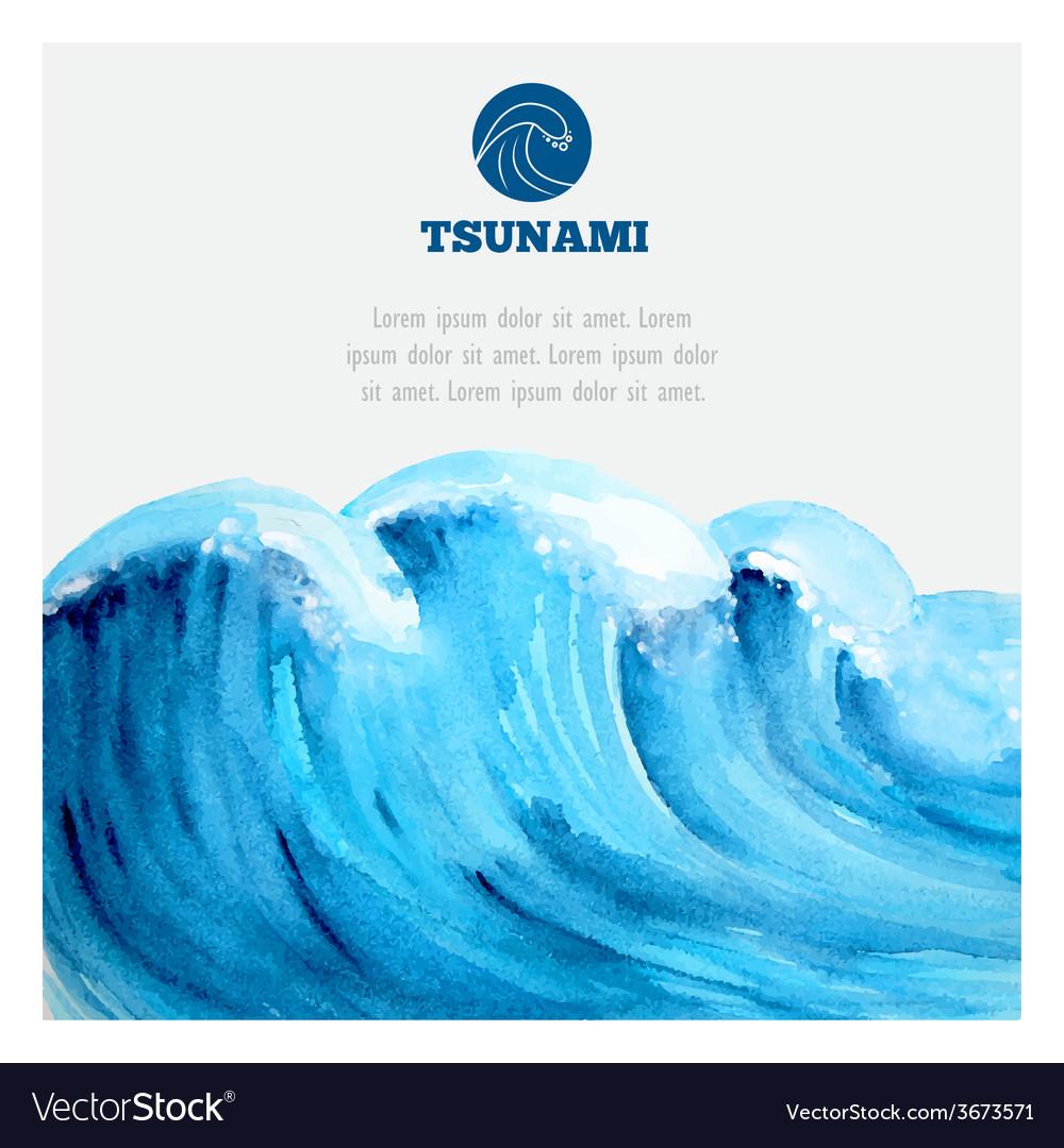 Watercolor ocean tsunami waves