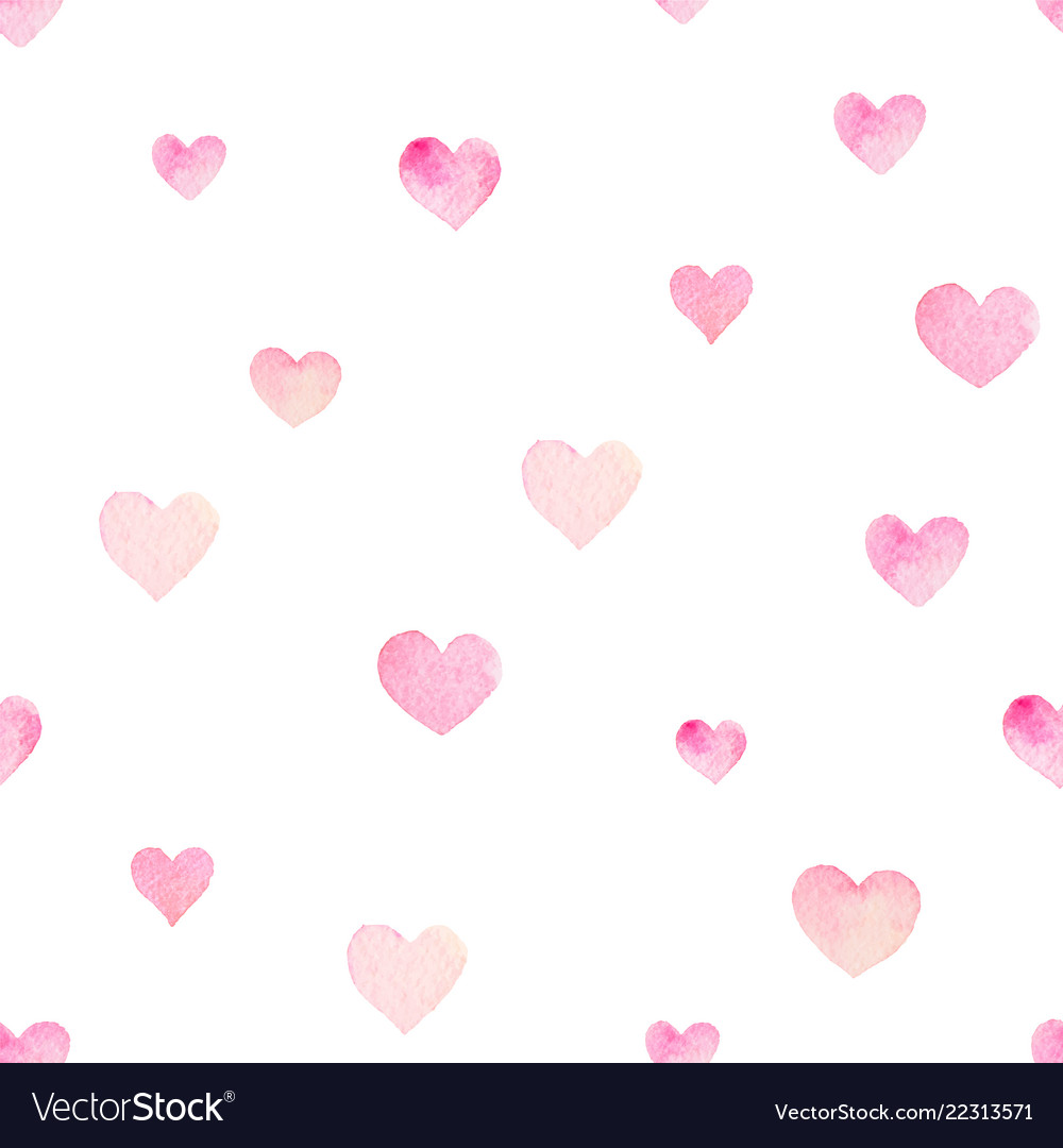 Watercolor seamless pattern with hearts for
