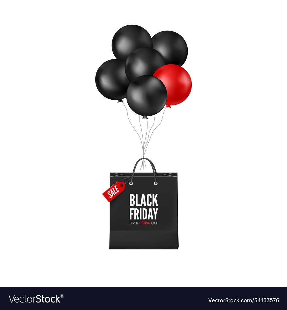 Black friday poster with discount and red