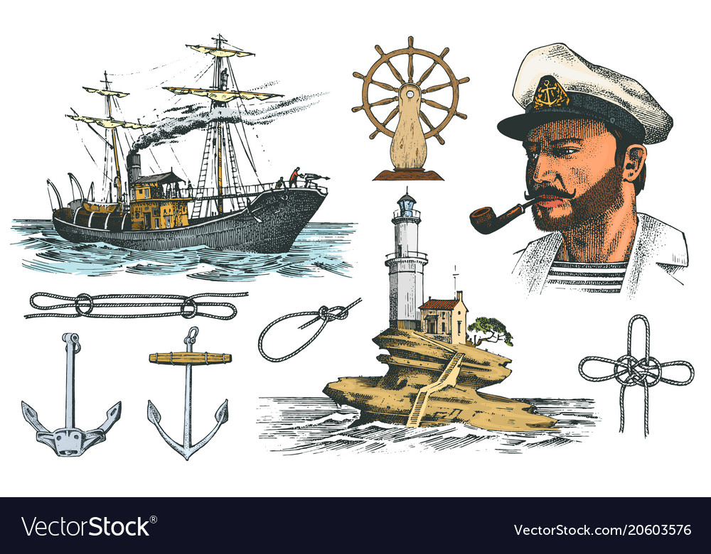 Boatswain with pipe lighthouse and sea captain vector
