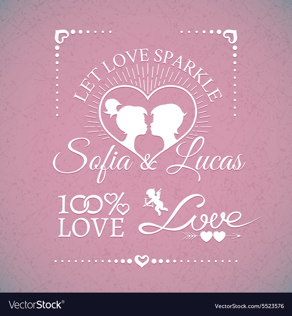 Bright wedding or Valentines Day design elements vector image