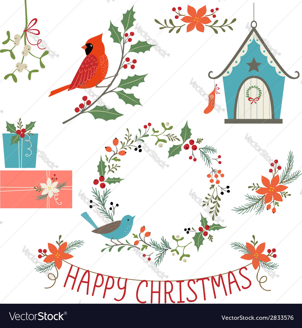 christmas decorations and birds vector image - Bird Christmas Decorations