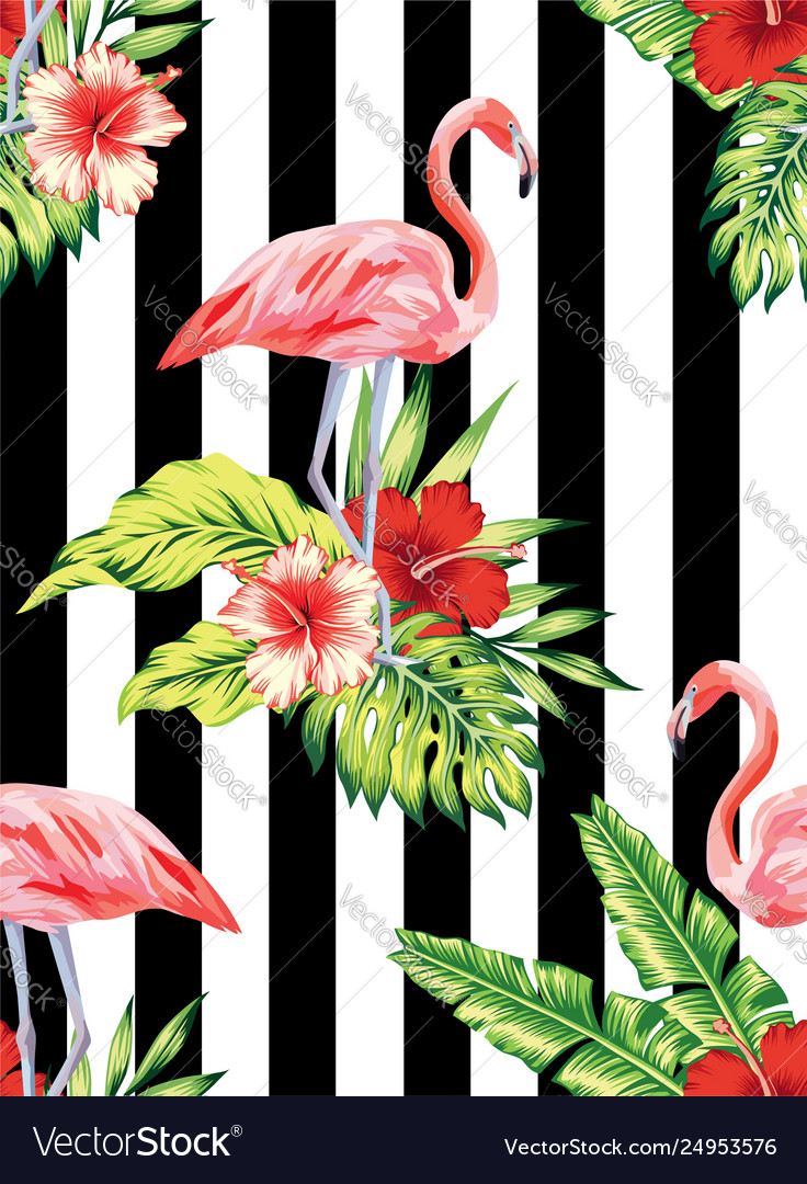 Flamingo and hibiscus tropical pattern striped