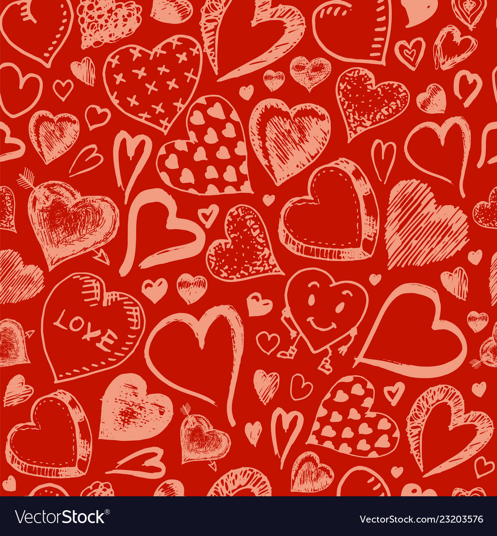 Hearts seamless pattern doodle valentine love