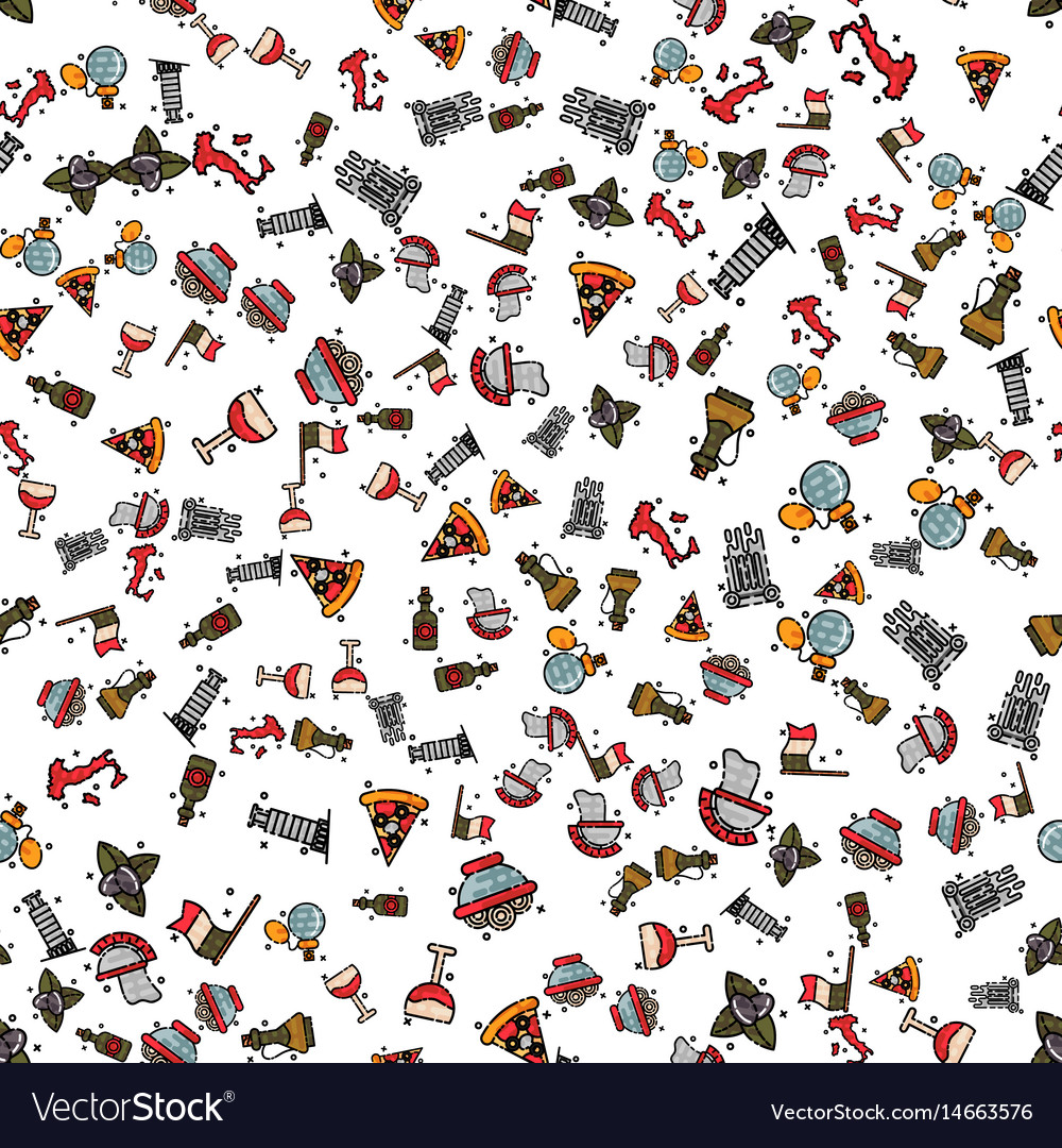 Italy set pattern vector image