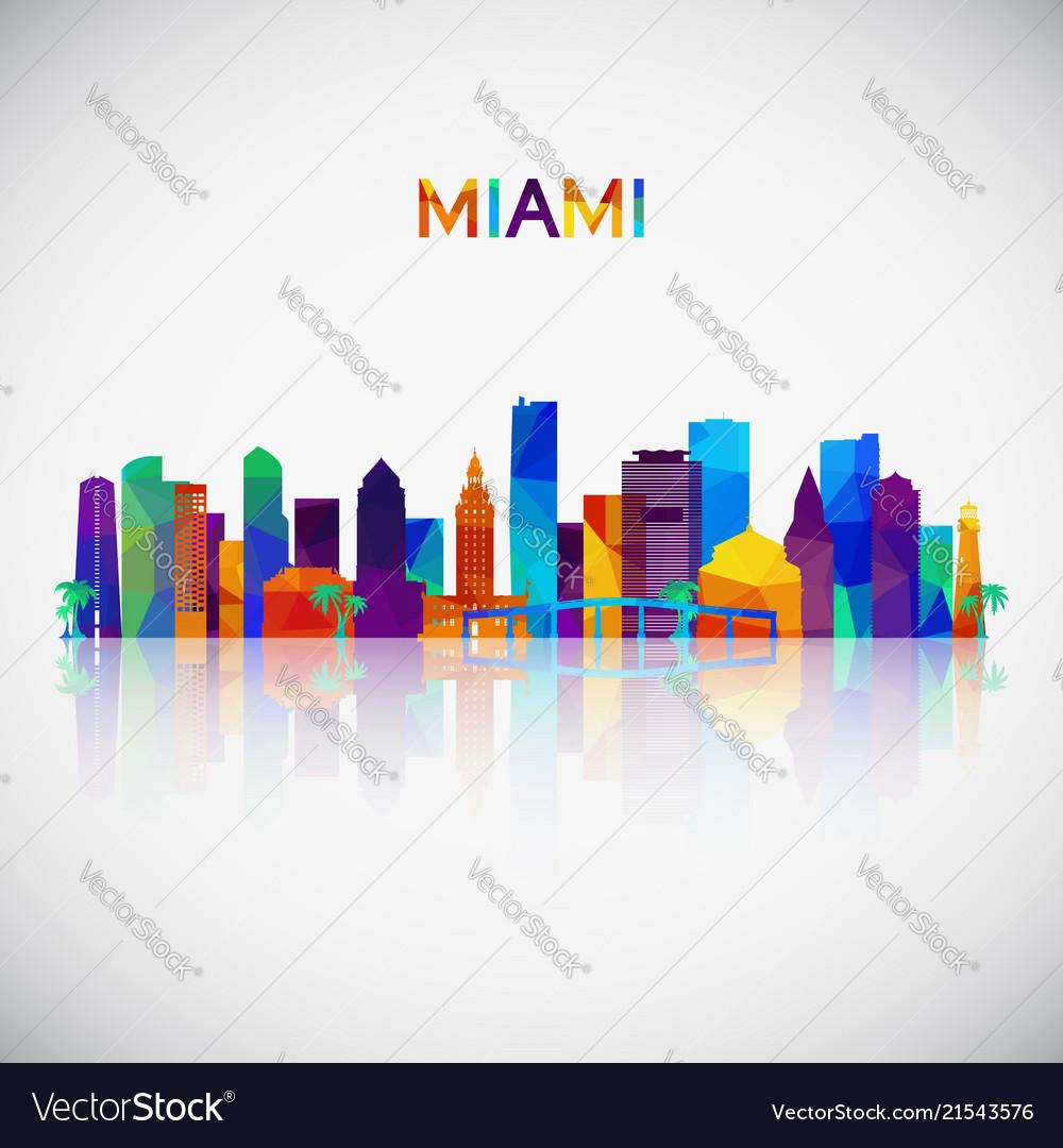 Miami skyline silhouette in colorful geometric