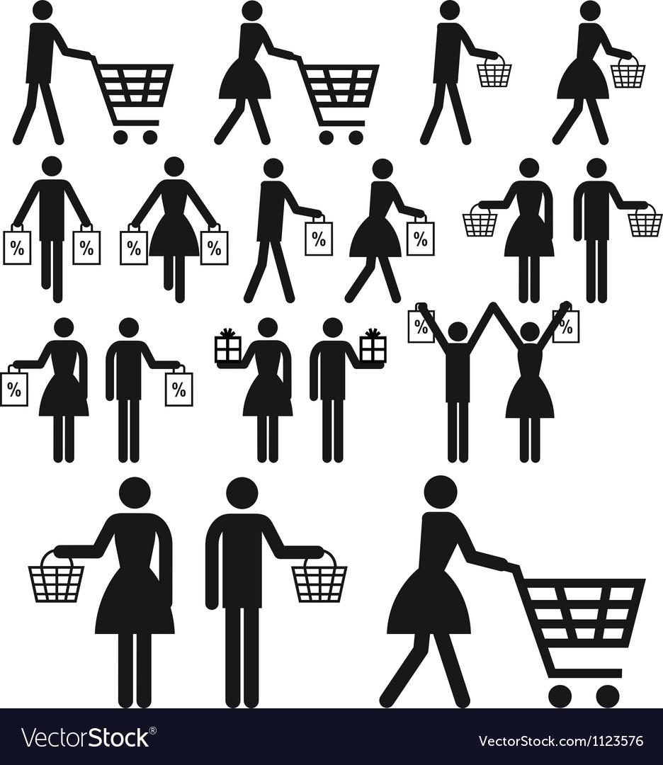 Shopping people icon set