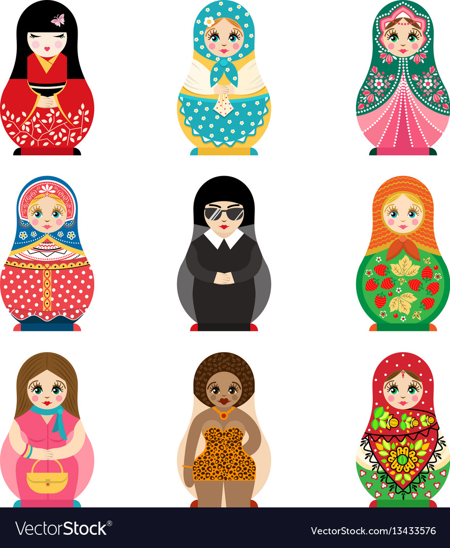 Traditional russian matryoshka toy set with