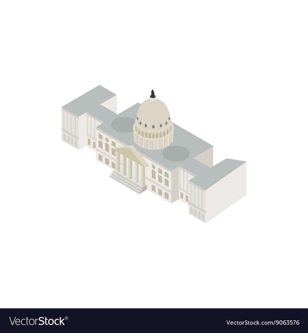 White House Usa Icon Isometric 3d Style