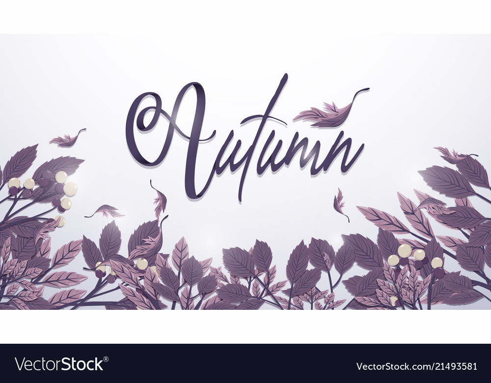 Autumn leaves background in purple toned freehand