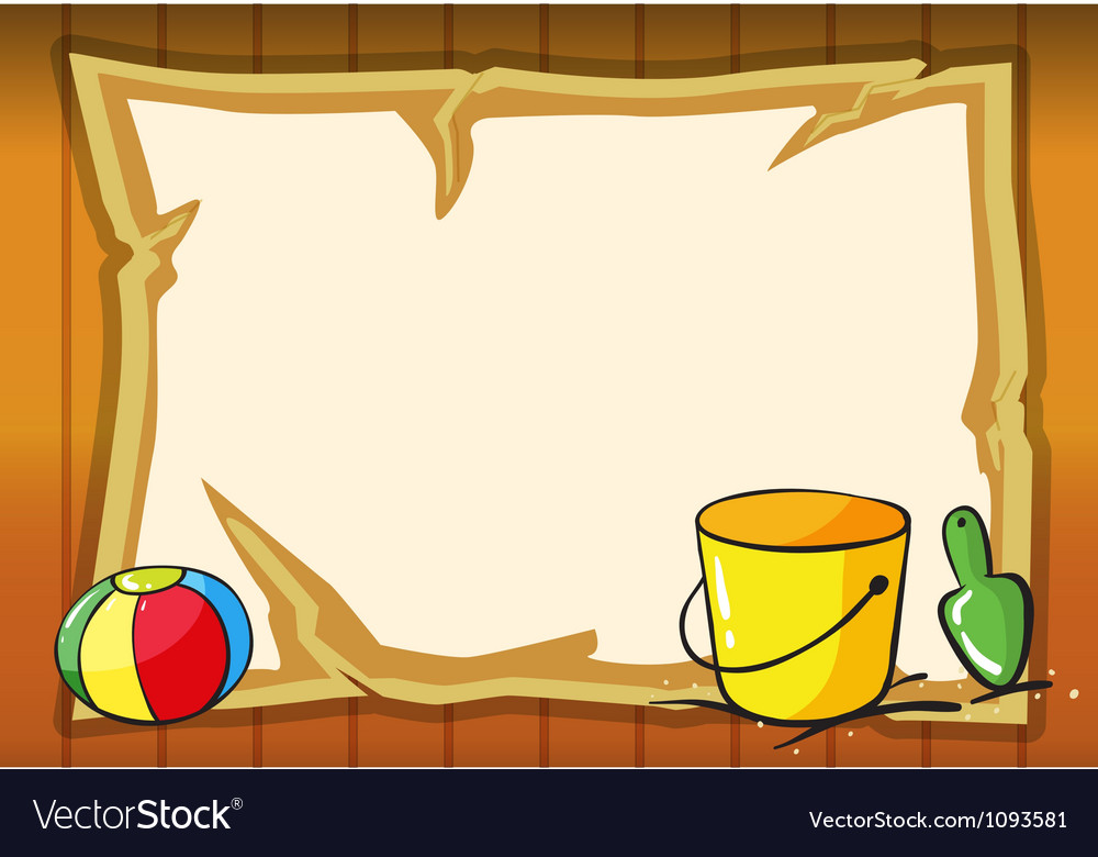 Bucket ball and paper sheet vector image