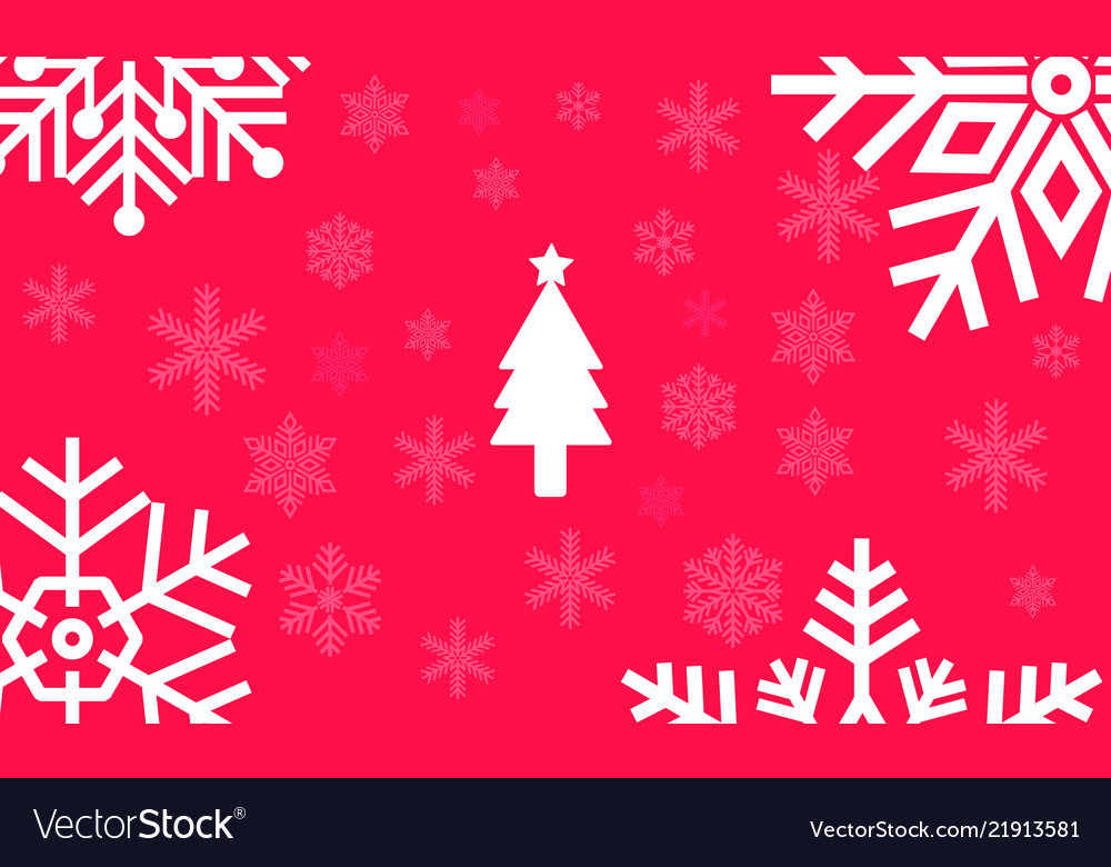 Christmas red background with large snowflakes