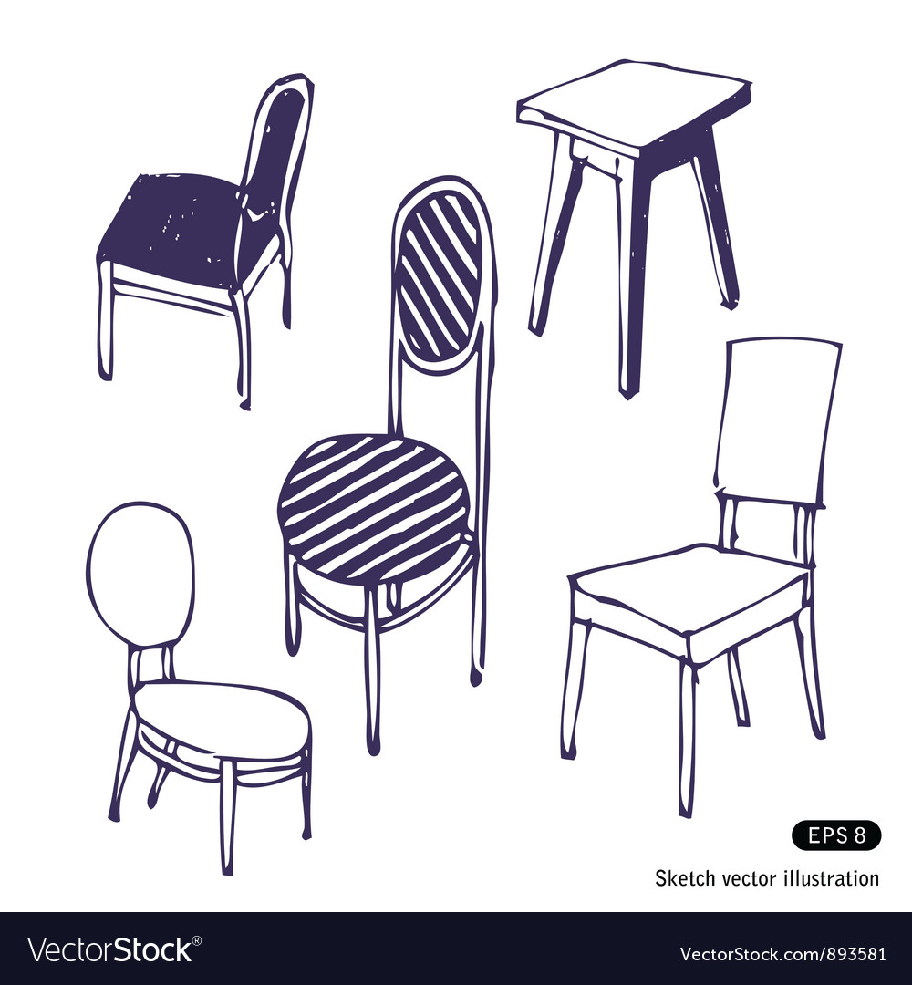 Hand drawn chairs Isolated