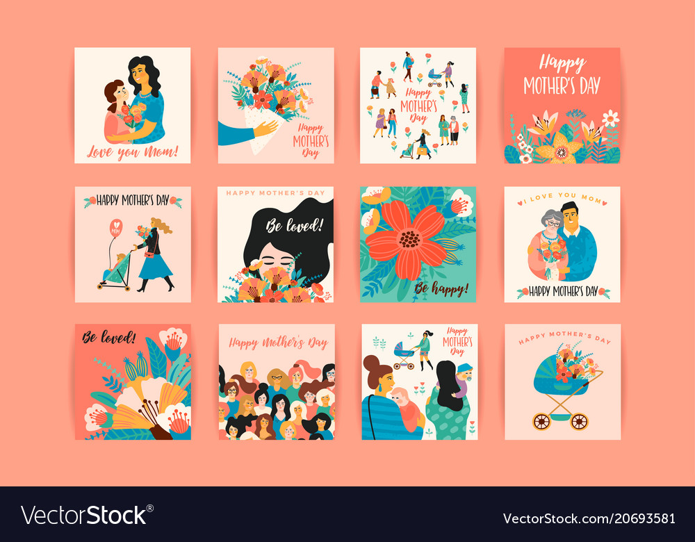 happy mothers day templates royalty free vector image