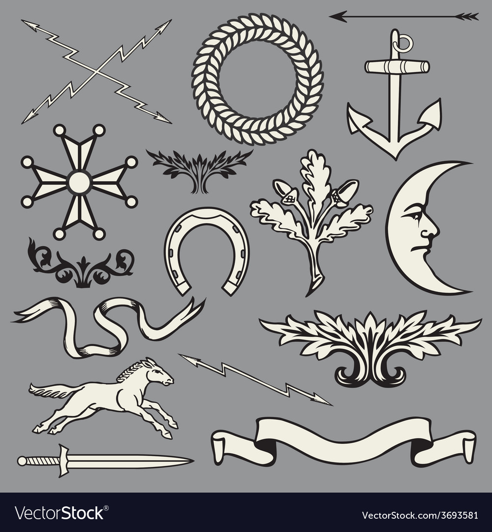 Heraldic symbols and elements vector image