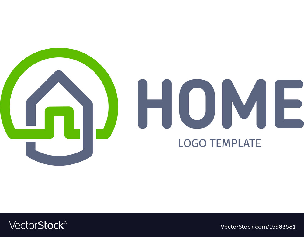 Home linear logo smart house line art