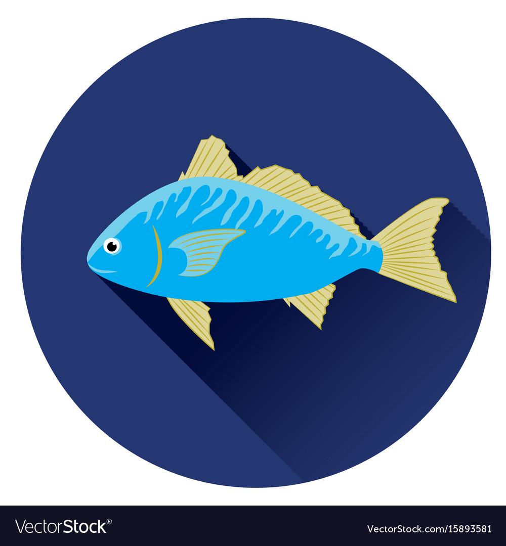 Icon fish blue on a dark blue background