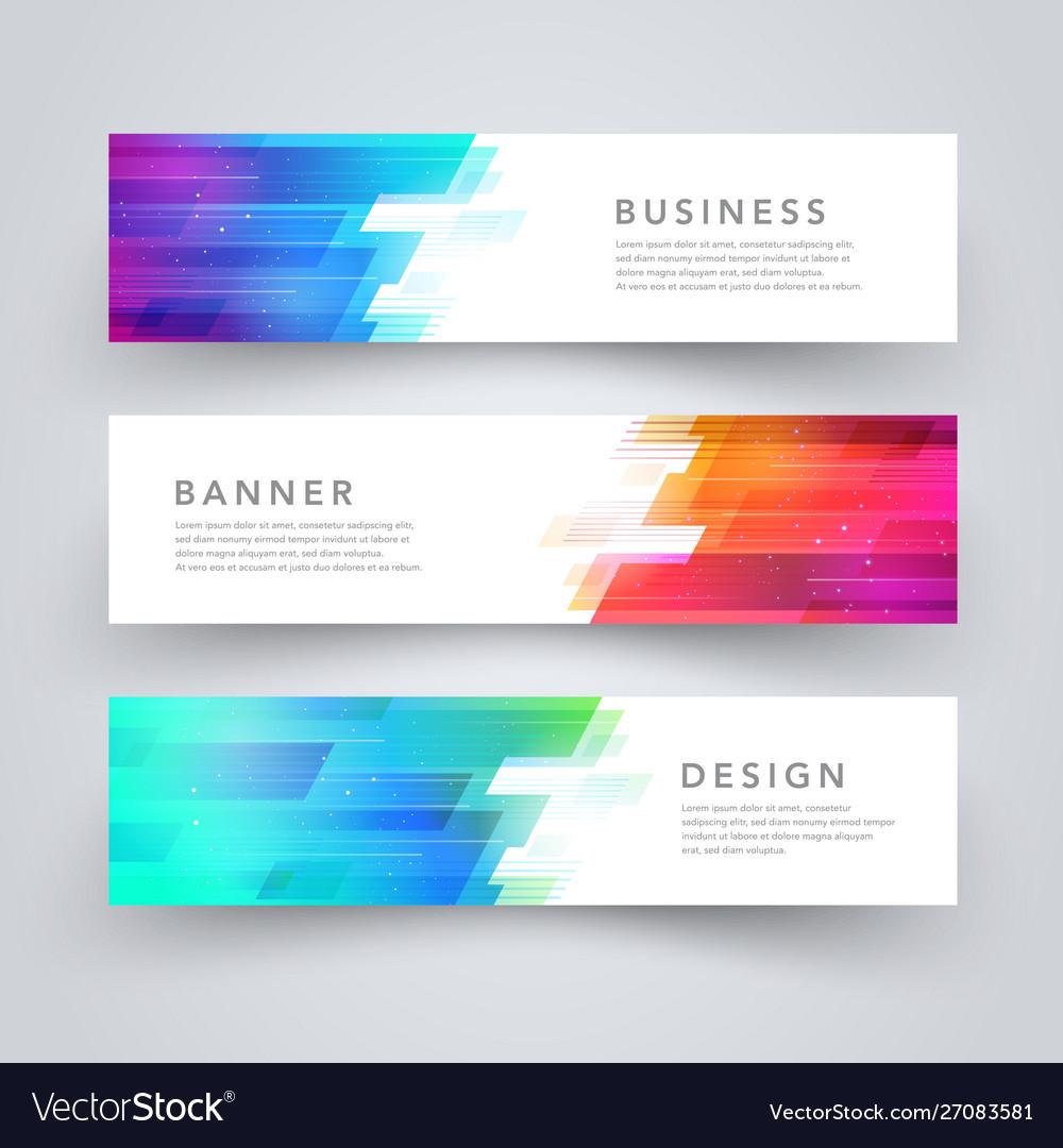 Modern geometric tech design banner template