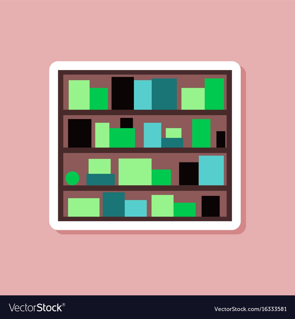 Paper Sticker On Stylish Background Bookshelf Vector Image