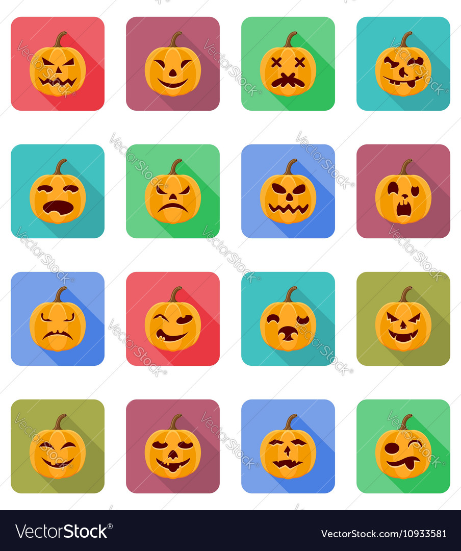 Pumpkins for halloween flat icons 20