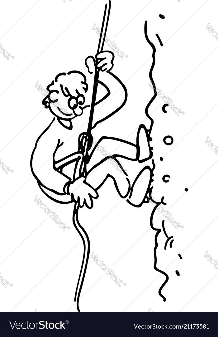 Rock climbing boy outlined cartoon handrawn vector image