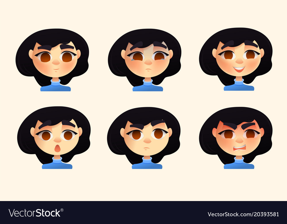 Set of character young woman emotions