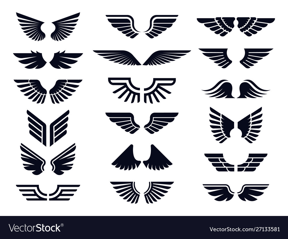 Silhouette pair wings icon angel wing